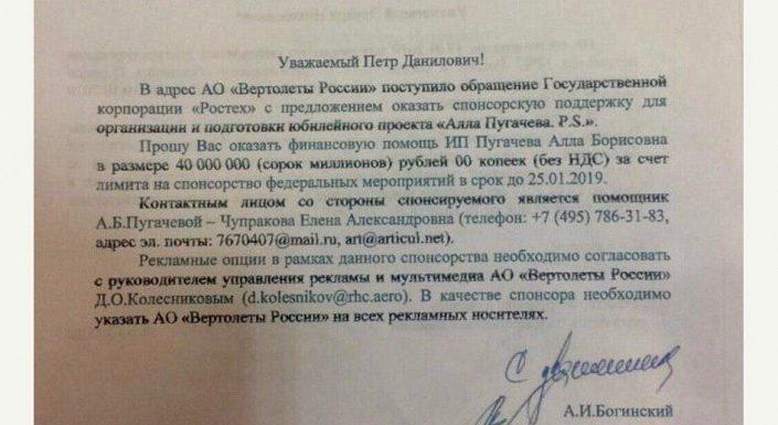 Пугачева получила от госкорпорации 40 млн на концерт в Кремле