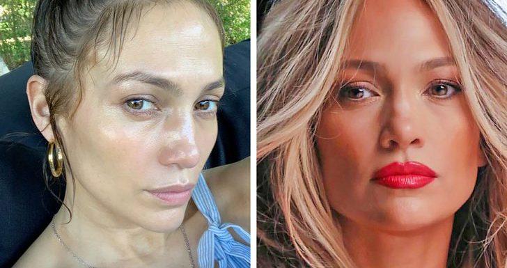 Фотографии знаменитостей с макияжем и без него