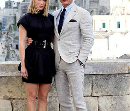 Дэниел Крейг и Леа Сейду на фотоколле в Италии на месте съемок фильма об агенте 007