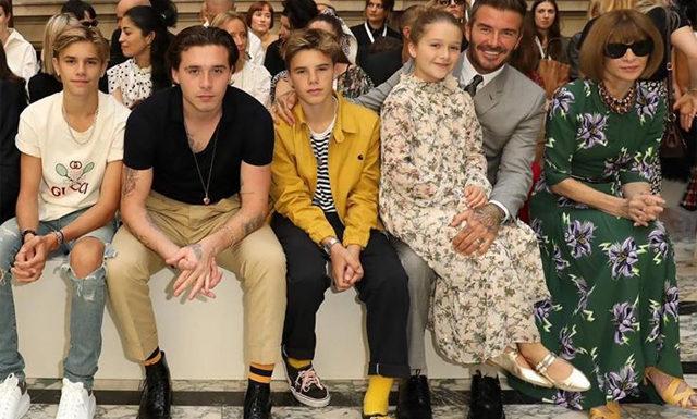Неделя моды в Лондоне: Дэвид Бекхэм с детьми, Хелен Миррен и другие на показе Victoria Beckham